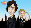Cartoon: BBC Sherlock (small) by Marycaricature tagged sherlock,detective,bbc,benedict,cumberbatch,martin,freeman