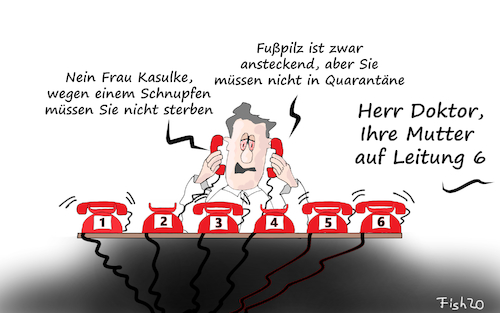 Cartoon: Corono Sprechstunde (medium) by Fish tagged corona,virus,covid,19,tod,epedemie,pandemie,seuche