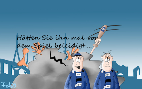 Cartoon: HSV verliert Pokalspiel (medium) by Fish tagged hsv,bundesliga,fussball,dfb,pokal,prügelei,hamburg