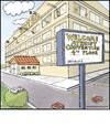 Cartoon: Atheist Convention (small) by noodles tagged atheist,bible,religion,hotel,convention,noodles