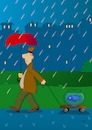 Cartoon: Flaneur (small) by Pinella tagged spaziergänger,fisch,regen,regenschirm