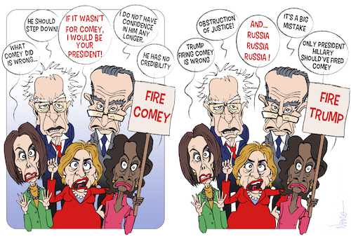 Cartoon: Fire Comey Fire Trump (medium) by NEM0 tagged donald,trump,james,comey,fbi,impeach,impeachment,hillary,clinton,bernie,sanders,chuck,schumer,maxine,waters,fire,firing,liberal,democrat,election,president,presidency,donald,trump,james,comey,fbi,impeach,impeachment,hillary,clinton,bernie,sanders,chuck,schumer,maxine,waters,fire,firing,liberal,democrat,election,president,presidency