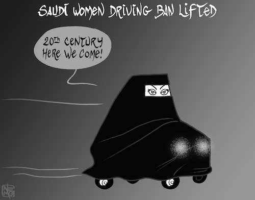 Cartoon: Lifting the Driving Ban (medium) by NEM0 tagged saudi,arabia,house,of,saud,king,prince,salman,decree,riyadh,women,driving,ban,human,rights,religion,wahabism,patriarchal,society,equality,burka,burqa,feminism,transportation,car,saudi,arabia,house,of,saud,king,prince,salman,decree,riyadh,women,driving,ban,human,rights,religion,wahabism,patriarchal,society,equality,burka,burqa,feminism,transportation,car