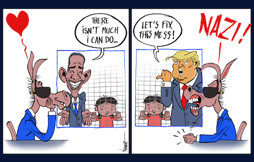 Cartoon: Outrage Over Separated Families (medium) by NEM0 tagged donald,trump,barack,obama,media,hypocrisy,family,outrage,illegals,aliens,immigrant,illegal,immigrants,border,build,the,wall,dhs,ice,homeland,security,kirstjen,nielsen,cages,kids,smugglers,human,traffick,flores,settlement,nem0,donald,trump,barack,obama,media,hypocrisy,family,outrage,illegals,aliens,immigrant,illegal,immigrants,border,build,the,wall,dhs,ice,homeland,security,kirstjen,nielsen,cages,kids,smugglers,human,traffick,flores,settlement,nem0
