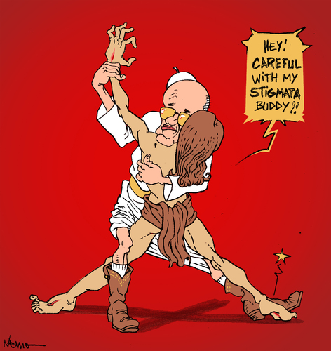 Cartoon: Stigma-Tango (medium) by NEM0 tagged pope,francis,vatican,jesus,christ,easter,resurection,dance,tango,argentina,argentinian,latin,america,latino,scandals,religion,chistian,catholuic,stigmata