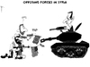 Cartoon: Opposing Forces in Syria (small) by NEM0 tagged bashar,al,assad,president,tank,rebels,rebellion,uprising,arab,spring,civilian,civilians,syria,politician,dictator,dictatorship,shooting,armed,forces
