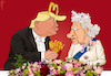 Cartoon: Pomp at Buckingham Palace (small) by NEM0 tagged usa,potus,president,trump,england,london,queen,elizabeth,ii,buckingham,palace,uk,great,britain,pomp,mc,donald,fries,crown,tiara,bling,royal,reception,state,diner,fast,food,king,burger,windsors,nem0