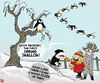 Cartoon: Spring Back (small) by NEM0 tagged spring,swallow,winter,snow,penguin,cold,tree,ice,weather,meteorology