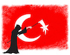 Cartoon: Terror in Turkey (small) by NEM0 tagged turkey,terror,erdogan,nato,flag,grim,reaper,nemo,nem0