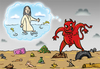 Cartoon: Dirty Water (small) by elihu tagged seas waters pollution jesus evil environment