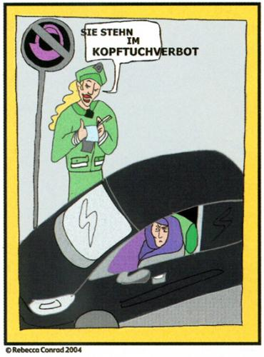 Cartoon: Kopftuchverbot (medium) by Battlestar tagged kopftuchverbot,kultur,kopftuch,religion,frau,islam,woman,headscarf,ban
