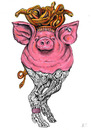 Cartoon: Medusa Pig (small) by Battlestar tagged illustration tiere tier animals animal schwein pig medusa skelett skeleton snake nature natur schlange bizarre fiction mix