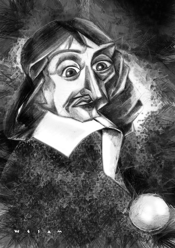 Cartoon: Descartes (medium) by Wesam Khalil tagged method,doubt,subjectivity,normals,analytic,geometry,cartesian,coordinate,system,dualism,interactionism,foundationalism,mathesis,universalis,folium,of,descartes,dream,argument,evil,demon,conservation,momentum,caricature