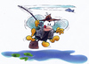 Cartoon: Flyfishing (small) by HSB-Cartoon tagged fly,fishing,fliege,angeln,angeling,water,sea,river,pond,salm,cartoon,caricature,airbrush,motiv,hsb