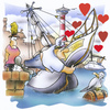 Cartoon: loveboat (small) by HSB-Cartoon tagged boat,ship,sailing,water,sea,ocean,harbour,port,skipper,capitain,sail,love,cartoon,caricature,airbrush