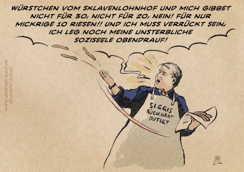 Cartoon: Siggis Würstchenberatung (medium) by Guido Kuehn tagged gabriel,tönnies,berater,gabriel,tönnies,berater