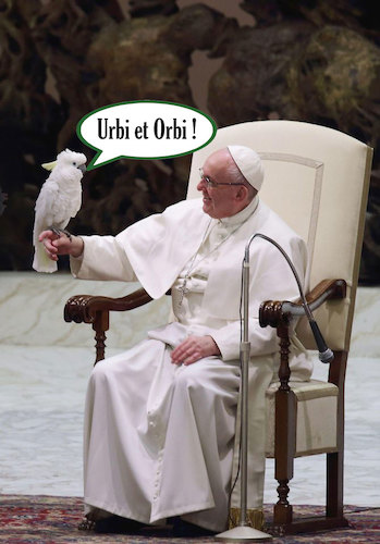 Cartoon: Holy Parrot (medium) by poleev tagged francis,franziskus,pope,papst,pontifex,parrot,vatican,catholicism,church
