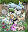 Cartoon: animals (small) by jayson arellano tagged playing,with,their,animals