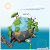 Cartoon: Saving earth (small) by miguelmorales tagged climate,change,earth,pollution,forest,killing,government,water,poison,smoke,noise,bombs,wars
