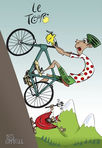 Cartoon: Climb every mountain (medium) by campbell tagged tour,de,france,sport,cycling,devil,mountains
