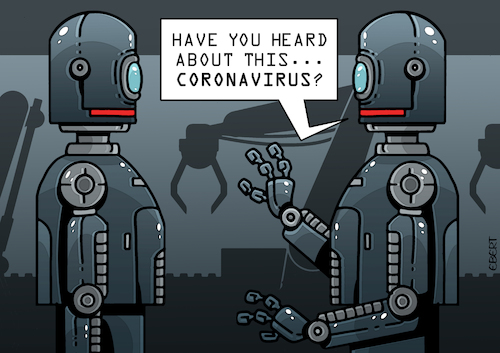 Cartoon: Robots and Coronavirus (medium) by EnricoBertuccioli tagged covid19,coronavirus,virus,pandemic,robot,automation,future,technology,health,work,job,human,beings,people,society,workers,industry,crisis,global,business,economy,policy,industrial,rights