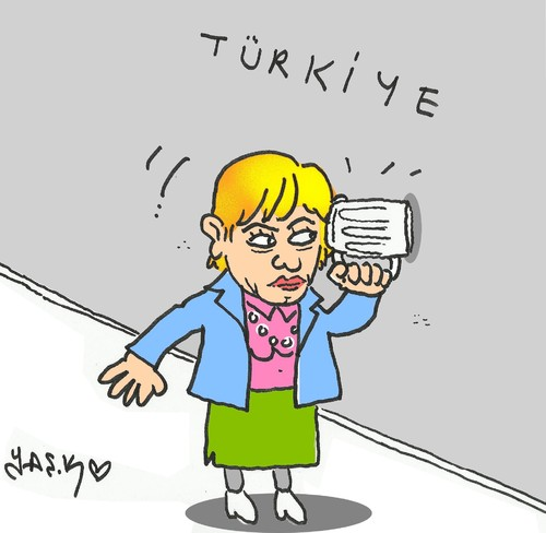 Cartoon: Angela Merkel (medium) by yasar kemal turan tagged angela,merkel