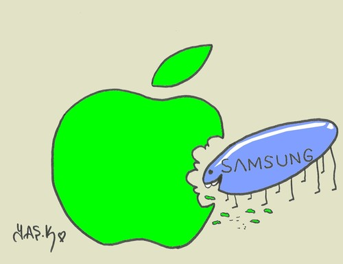 Cartoon: apple-samsung case (medium) by yasar kemal turan tagged case,samsung,apple