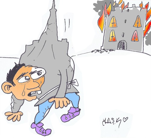 Cartoon: Notre Dame (medium) by yasar kemal turan tagged notre,dame