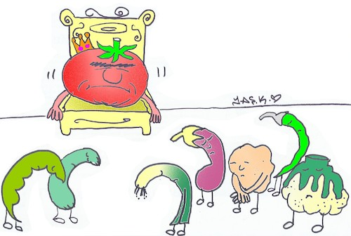 Cartoon: tomato hike champion (medium) by yasar kemal turan tagged tomato,hike,champion