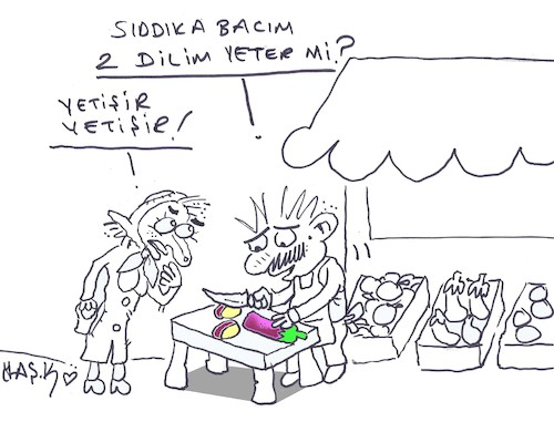 Cartoon: two slices (medium) by yasar kemal turan tagged two,slices