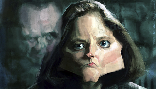 Cartoon: Jodie Foster (medium) by Jeff Stahl tagged jodie,foster,actress,caricature,freelance,hannibal,lecter,illustration,jeff,stahl,movie,silence,of,the,lambs,anthony,hopkins