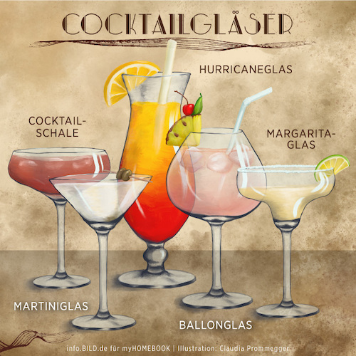 Cartoon: Cocktailgläser (medium) by alesza tagged cocktail,glas,gläser,trinken,bar,martini,hurricane,margarita,ballon,cocktailschale,illustration,procreate