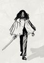 Cartoon: Michonne (small) by alesza tagged walking,dead,fan,art,comic,michonne,black,white,digital,drawing,painting