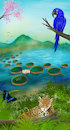 Cartoon: Pantanal (small) by alesza tagged nature environment ipad procreate landscape mountain light blue environmentdesign conceptart