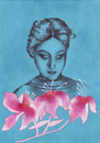 Cartoon: Three Flowers (small) by alesza tagged three,flowers,pink,blue,portrait,woman