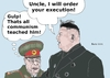 Cartoon: Kim Jong Un and his uncle (small) by Fusca tagged terror,tyrants,communism,dictators