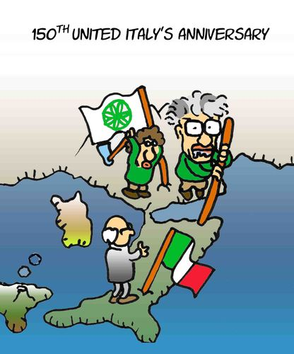 Cartoon: 150th united Italy anniversary (medium) by fragocomics tagged 150th,150,united,italy,anniversary,berlusconi,federalism,lega,nord,17,march,17th,italien,geburstag,150