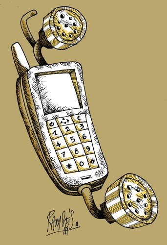 Cartoon: Phoneshower (medium) by Ramses tagged phone