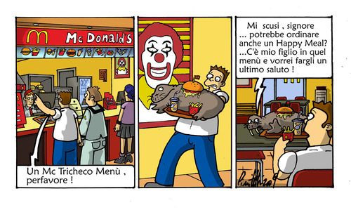 Cartoon: Mc Tricheco menu (medium) by ignant tagged mc,donald,cartoon,comic,strip