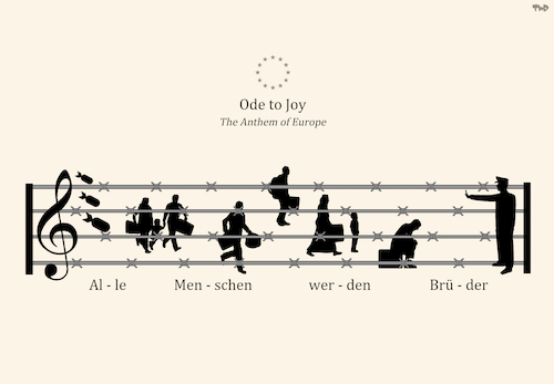 Cartoon: European Anthem (medium) by Tjeerd Royaards tagged eu,refugees,crisis,fence,music,europe,border,eu,refugees,crisis,fence,music,europe,border