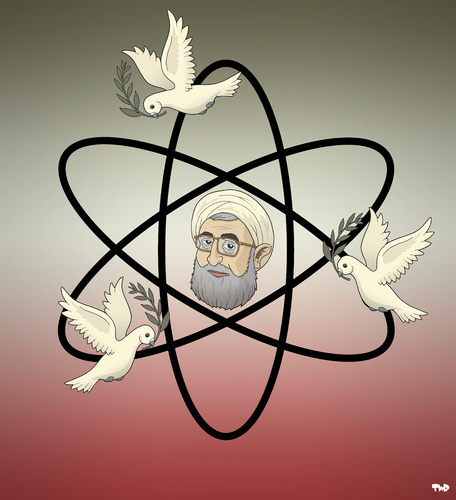 Cartoon: Iran out for Peace (medium) by Tjeerd Royaards tagged iran,rohani,rouhani,atom,nuclear,radioactive,weapon,power,weapons,tehran,usa,us,relations,un,iran,rohani,rouhani,atom,nuclear,radioactive,weapon,power,weapons,tehran,usa,us,relations,un