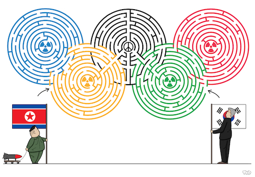 Cartoon: Olympic Maze (medium) by Tjeerd Royaards tagged north,south,korea,olympics,winter,seoul,talks,peace,kim,jong,un,north,south,korea,olympics,winter,seoul,talks,peace,kim,jong,un