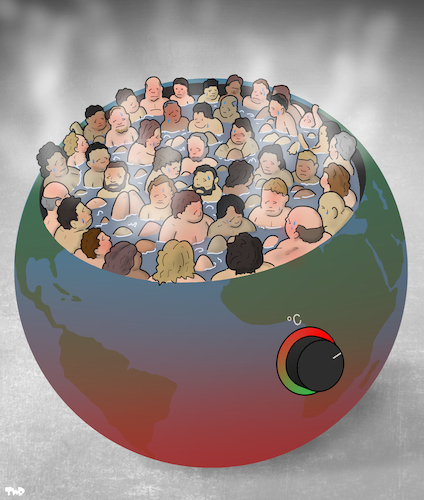 Cartoon: Overcrowded Hot Tub (medium) by Tjeerd Royaards tagged world,planet,climate,people,earth,world,planet,climate,people,earth