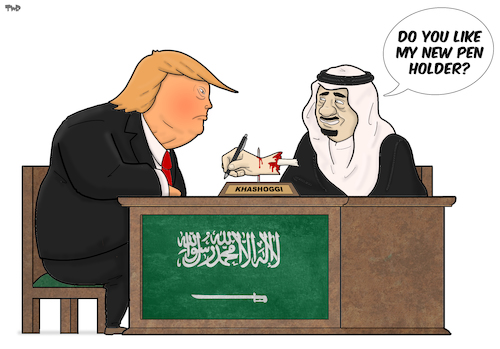 Cartoon: Pen Holder (medium) by Tjeerd Royaards tagged usa,saudi,arabia,freedom,of,speech,murder,usa,saudi,arabia,freedom,of,speech,murder