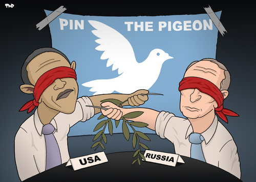 Cartoon: Pin the Pigeon (medium) by Tjeerd Royaards tagged obama,putin,syria,peace,assad,letter,new,york,times,russia,usa,america,moscow,damascus,chemical,weapons,washington,obama,putin,syria,peace,assad,letter,new,york,times,russia,usa,america,moscow,damascus,chemical,weapons,washington