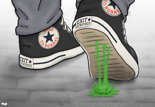 Cartoon: Sticky Problem (medium) by Tjeerd Royaards tagged corona,coronavirus,pandemic,lockdown,end,open,future,corona,coronavirus,pandemic,lockdown,end,open,future