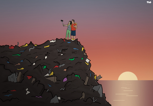 Cartoon: Tourism (medium) by Tjeerd Royaards tagged trash,sunset,selfie,tourist,travel,nature,environment,waste,trash,sunset,selfie,tourist,travel,nature,environment,waste