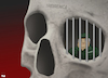 Cartoon: Mladic in Prison (small) by Tjeerd Royaards tagged serbia,srebrenica,genocide,crime,skull,prison,mladic