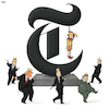 Cartoon: New York Times (small) by Tjeerd Royaards tagged nyt,newspaper,jester,joke,satire,trump,xi,kim,erdogan,happy