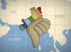 Cartoon: Political Map of India (small) by Tjeerd Royaards tagged gay,rights,india,court,criminal,sex,homo,homosexual,lesbian,gender,identity